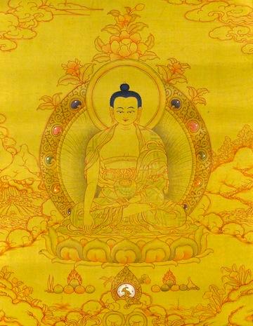 Le Bouddha descendit de la Terre Pure de Tushita, auréolé de la gloire et de la lumière
